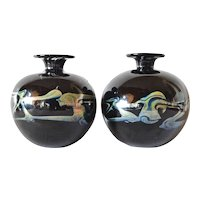 Mdina, pair of art glass vases, 1975c.