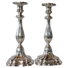 Pair German Silver ( 12 Lot = 750/1000 silver standard ) Candlesticks, Mid 1800s.