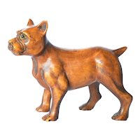 A Japanese hand carved wooden Boxer dog, mid 20th century.