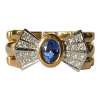 Gold ( 18 ct ) sapphire and diamond set ring, 1970 - 1990.
