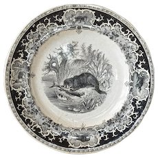 An Opaque de Sarreguemines decorative plate, 1875 - 1900.