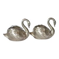 WMF, Britannia Metal , silver-plated, Pair Of Swan Salts, circa 1900