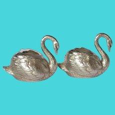 WMF, Britannia Metal , silver-plated, Pair Of Swan Salts, circa 1900
