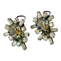 A vintage pair of costume jewellery earrings, mid 20th century.