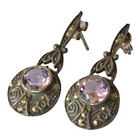 Pair of silver(925 ) marcasite/amethyst set drop earrings, 1925c.