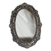 Sterling Silver Framed Oval Mirror,mid 1900s.