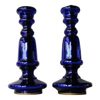 Pair of vintage blue glass Murano candlesticks, 1930 - 1940.