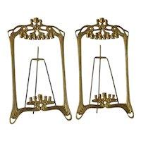 An Art Nouveau pair of polished brass picture frames,1900c.