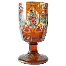 An antique Bohemian amber stained goblet, late 19th century.