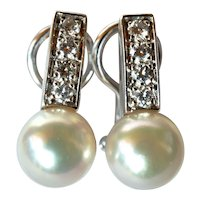 White gold (750/ 18ct) vintage earrings with pearls( cultured ) /diamond set.