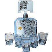 A Stefano pale blue glass liqueur set,1930c.