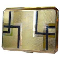 An art deco brass/enamelled cigar box 1930 - 1940.