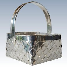 Cartier sterling silver , large, hand woven basket, 1960c.