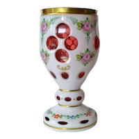 A Bohemian cranberry/white overlay vintage goblet, 1930c.