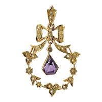 A 15ct.Gold & Amethyst & Half Pearl ( cultured ) Pendant, Circa 1890.