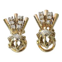 A vintage pair of 18ct. Gold & Diamond Earrings, Swiss, circa 1990.