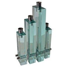 A vintage, 1950 c.,   four light glass modernistic candelabrum.