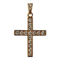 A vintage 18 ct. gold diamond set pendant cross, 1985 c.