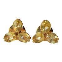Vintage pair of 18 ct. gold/yellow sapphire mounted earrings, 1960c.