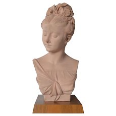 Adolphe Jean Lavergne,  portrait bust of a young lady, 1857.