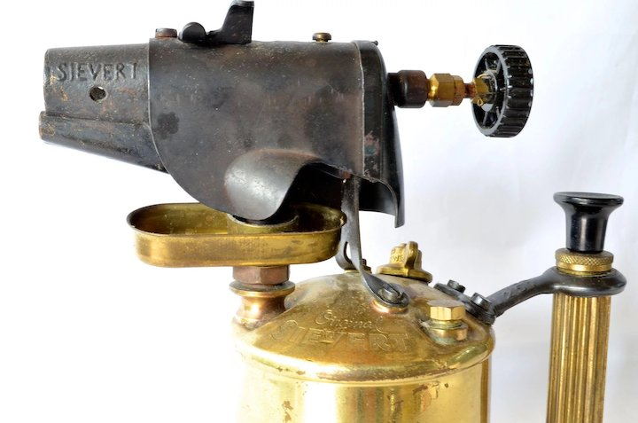 A vintage Max Sievert, Sweden, brass/metal blow torch - 1960c