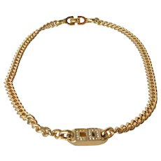 A vintage Chrisian Dior ( Germany ) gold tone pendant necklace.