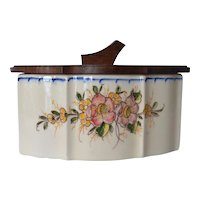 An early vintage French ceramic storage box with wooden lid.