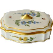 A vintage hand painted Limoges porcelain box and lid, 1971.