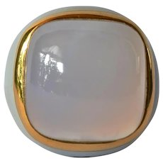 A vintage, Swiss, 18ct gold chalcedony set signet style ring, 1985 c.