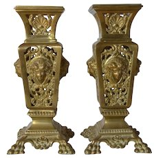 Pair of antique brass ornamental Stands for Vases, 1900c.