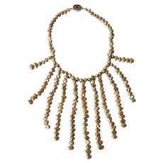 A vintage fresh water baroque pearl necklace with fringe front,1980c.