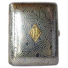 Cigarette case, silver (800 standard) and enamelled, 1930 c.