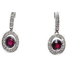 A Pair of vintage 18ct. White Gold and Ruby & Diamond Earrings, 1985c.