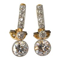A  pair of 18 ct. gold/diamond  earrings, 19th. century.