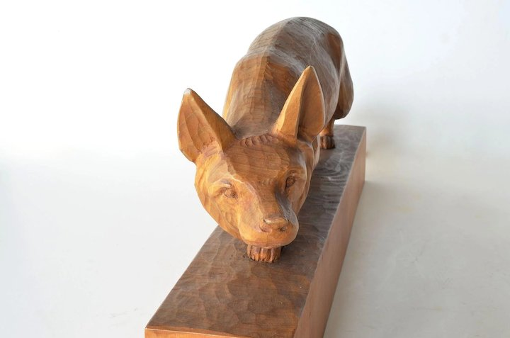 Unique Swiss, Brienz, wooden carved fox by Huggler, vintage. : Caragh  FO92