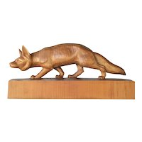 Swiss, Brienz, wooden carved fox  by Huggler, vintage.