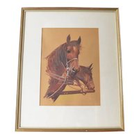 Vintage signed watercolour, pair of carriage horses, mid 20th. century.