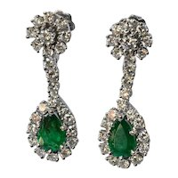 Emerald/diamond /white gold/, Swiss vintage earrings, 1980c.
