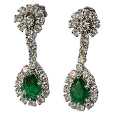 Emerald/diamond /white gold/, Swiss vintage earrings, 1980c.