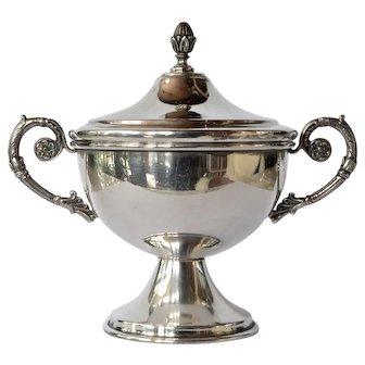 Vintage sterling silver  lidded dish/urn with handles.