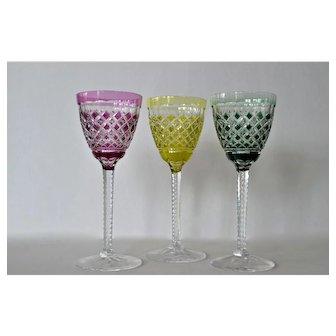 Val St. Lambert, vintage glasses, three matching.