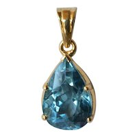 Vintage gold and topaz stone pendant, 1980s.