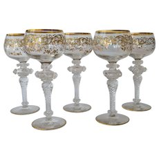 Set of five vintage wine glasses, 1955c.