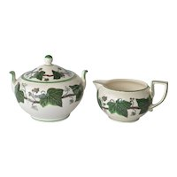 Wedgwood ' Napoleon Ivy' vintage sugar bowl and creamer.
