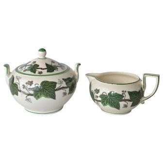 Wedgwood ' Napoleon Ivy' vintage sugar bowl and creamer.