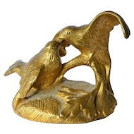 Antique gilt bronze finial, two doves,1900c.