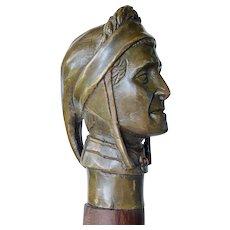 A Dante Alighieri ( bronze handle ) walking stick, mid 20th century.