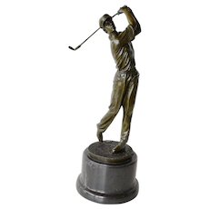 Early vintage, signed,  bronze golfer sculpture.