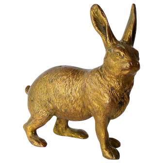Austrian cold painted hare sculpture, early 1900s.