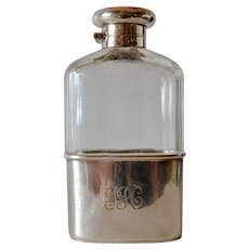 A George V silver mounted glass spirits flask, maker's mark , London, 1913.